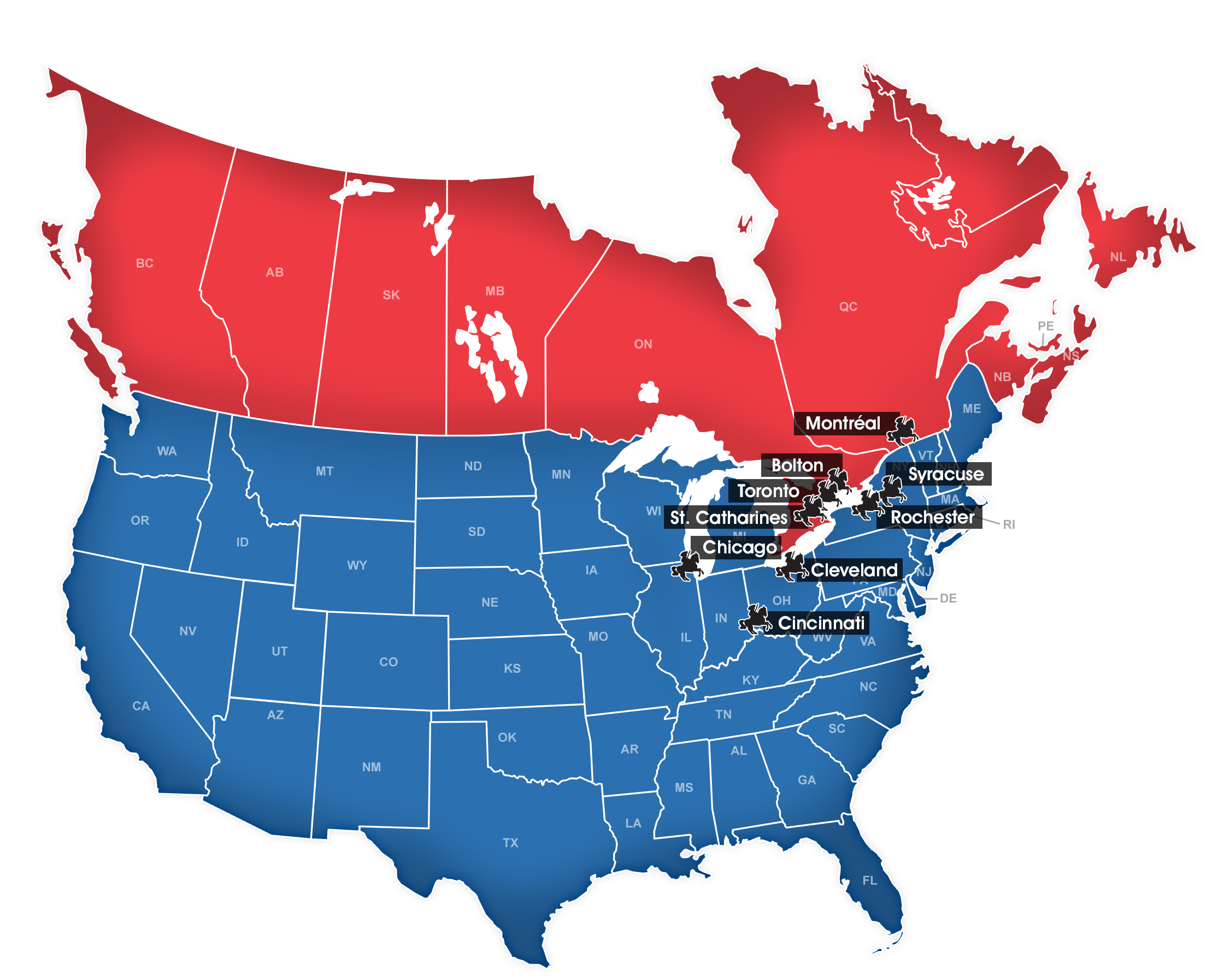 Canada, USA, North America Cities
